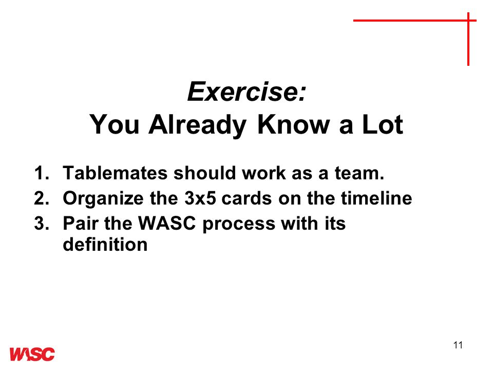 11 Exercise: You Already Know a Lot 1.Tablemates should work as a team.