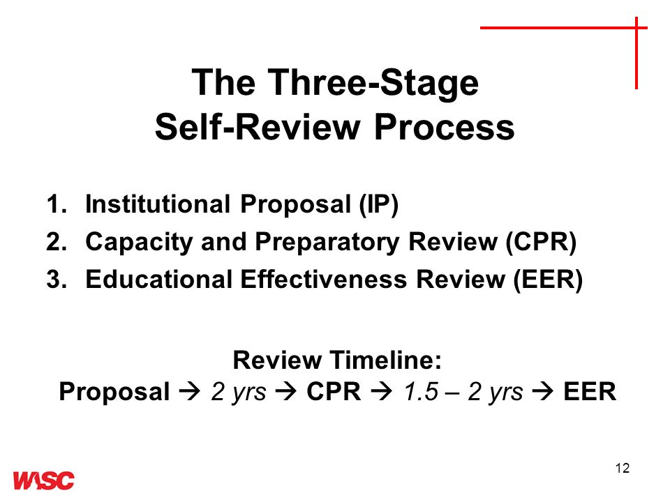 12 The Three-Stage Self-Review Process 1.Institutional Proposal (IP) 2.Capacity and Preparatory Review (CPR) 3.Educational Effectiveness Review (EER) Review Timeline: Proposal 2 yrs CPR 1.5 – 2 yrs EER