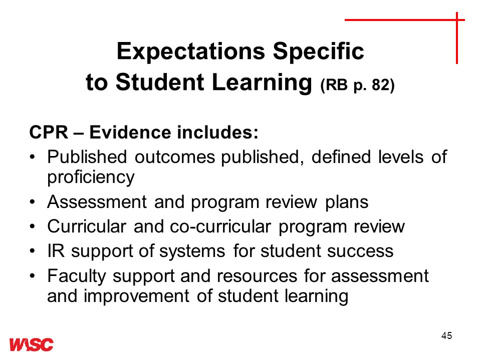 45 Expectations Specific to Student Learning (RB p.