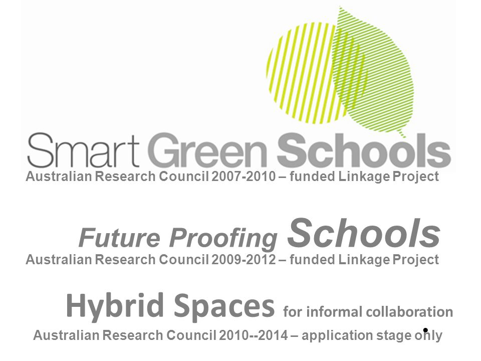 Australian Research Council 2007-2010 – funded Linkage Project Future Proofing Schools Australian Research Council 2009-2012 – funded Linkage Project Hybrid Spaces for informal collaboration Australian Research Council 2010--2014 – application stage only