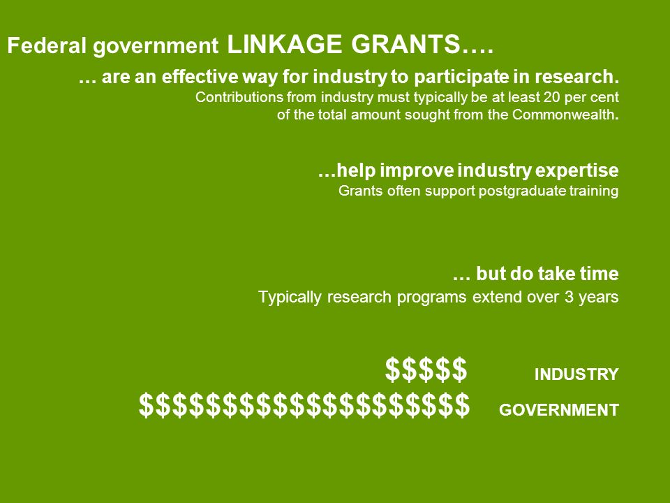 Federal government LINKAGE GRANTS…. … are an effective way for industry to participate in research.