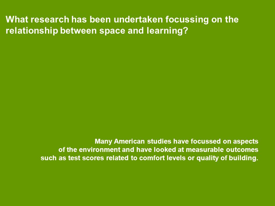 What research has been undertaken focussing on the relationship between space and learning.