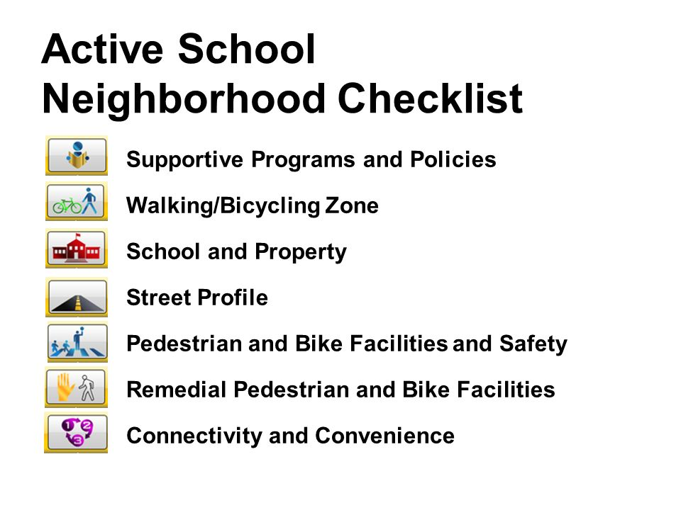 Active School Neighborhood Checklist Supportive Programs and Policies Walking/Bicycling Zone School and Property Street Profile Pedestrian and Bike Facilities and Safety Remedial Pedestrian and Bike Facilities Connectivity and Convenience