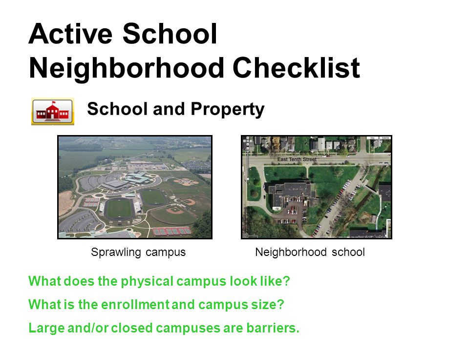 Active School Neighborhood Checklist School and Property Sprawling campusNeighborhood school What does the physical campus look like.