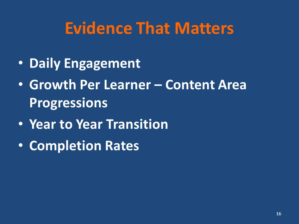 Evidence That Matters Daily Engagement Growth Per Learner – Content Area Progressions Year to Year Transition Completion Rates 16