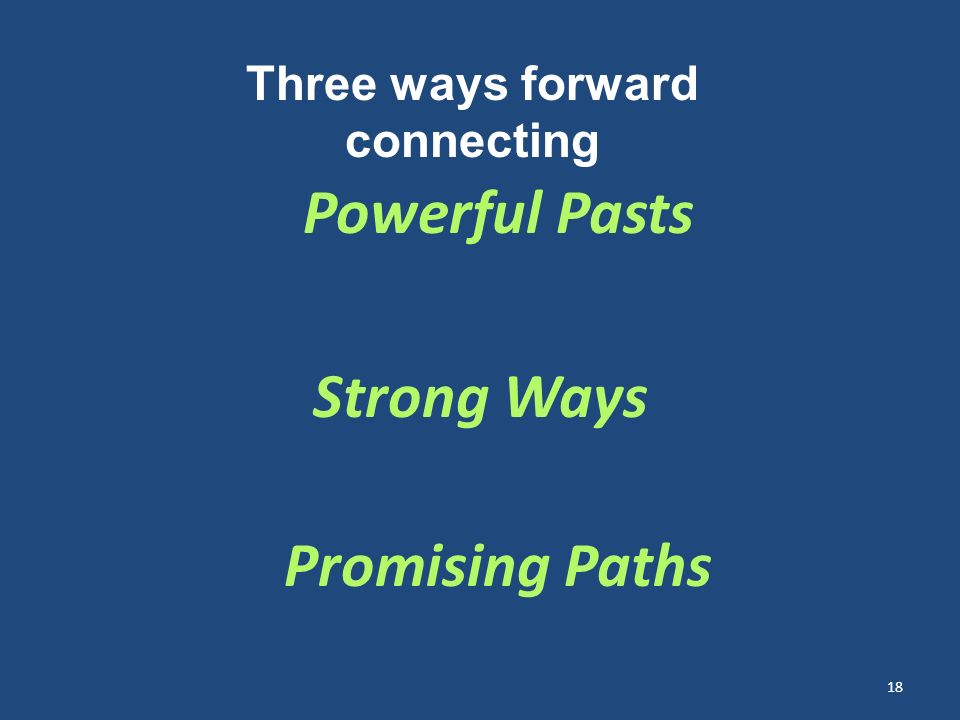 Powerful Pasts Strong Ways Promising Paths 18 Three ways forward connecting