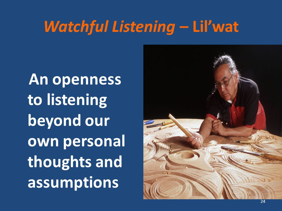 Watchful Listening – Lilwat An openness to listening beyond our own personal thoughts and assumptions 24