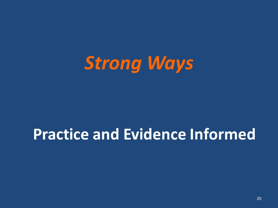 Strong Ways Practice and Evidence Informed 25