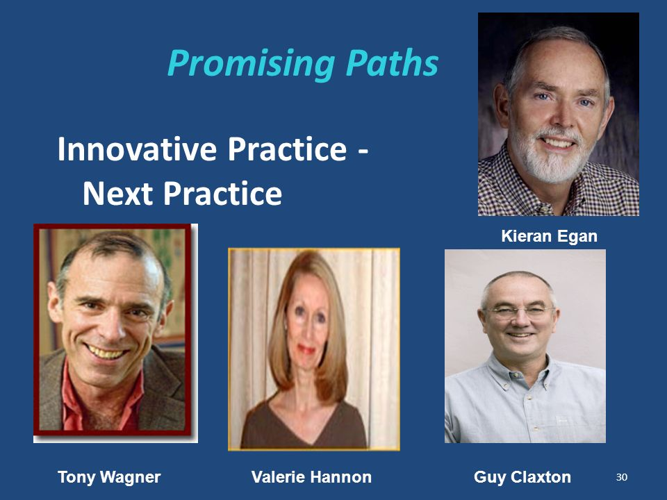 Promising Paths Innovative Practice - Next Practice 30 Tony WagnerValerie Hannon Guy Claxton Kieran Egan