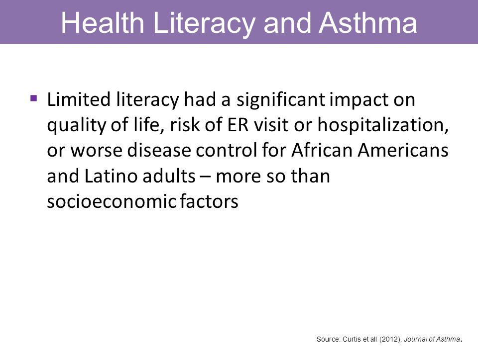 Health Literacy and Asthma Limited literacy had a significant impact on quality of life, risk of ER visit or hospitalization, or worse disease control for African Americans and Latino adults – more so than socioeconomic factors Source: Curtis et all (2012).