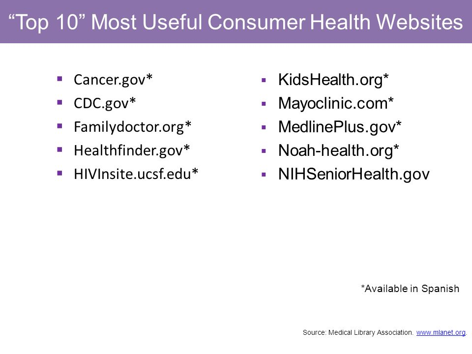 Top 10 Most Useful Consumer Health Websites Cancer.gov* CDC.gov* Familydoctor.org* Healthfinder.gov* HIVInsite.ucsf.edu* *Available in Spanish KidsHealth.org* Mayoclinic.com* MedlinePlus.gov* Noah-health.org* NIHSeniorHealth.gov Source: Medical Library Association.