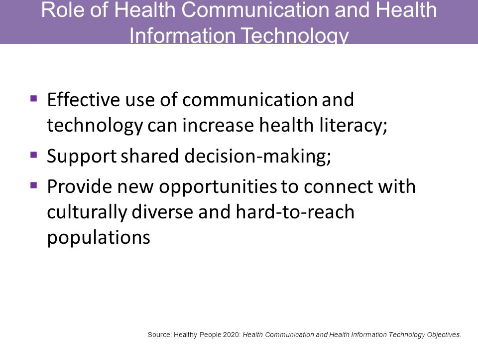 Role of Health Communication and Health Information Technology Effective use of communication and technology can increase health literacy; Support shared decision-making; Provide new opportunities to connect with culturally diverse and hard-to-reach populations Source: Healthy People 2020: Health Communication and Health Information Technology Objectives.