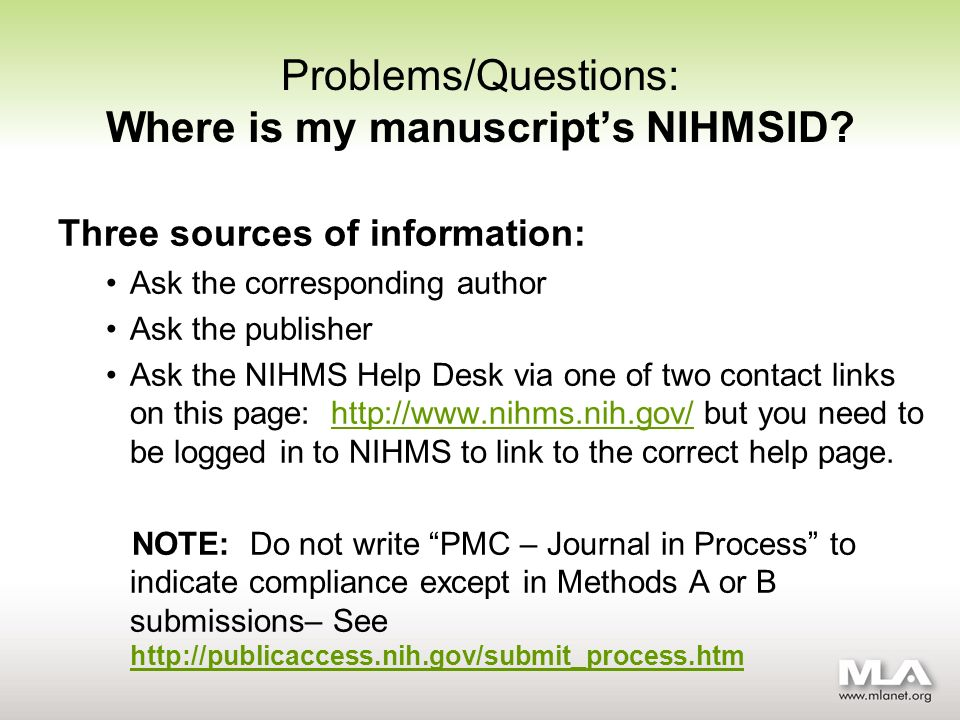 Problems/Questions: Where is my manuscripts NIHMSID.
