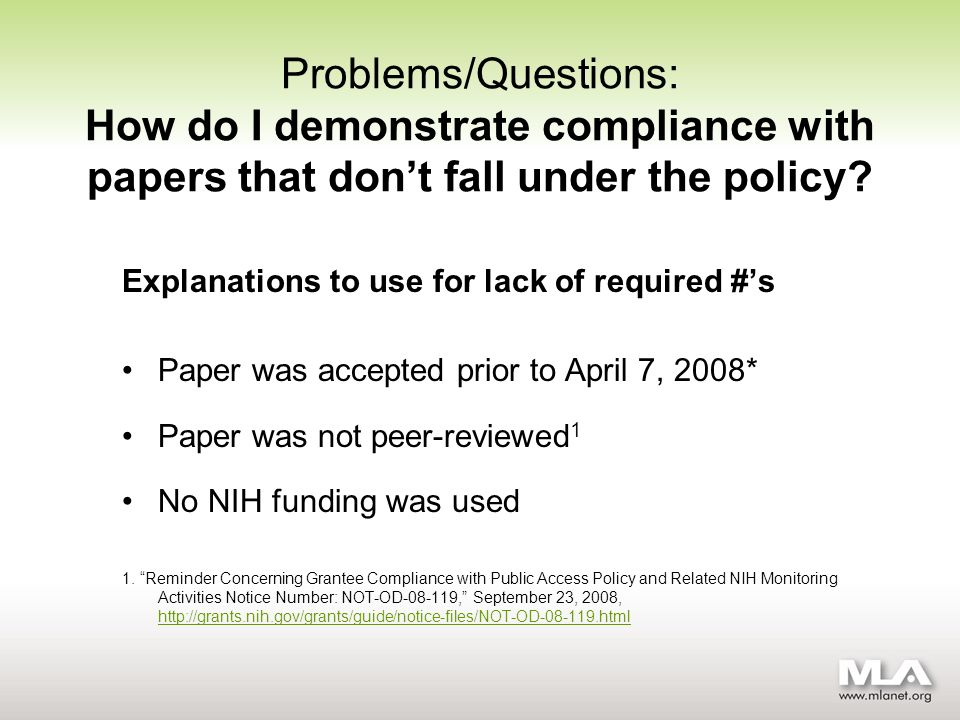 Problems/Questions: How do I demonstrate compliance with papers that dont fall under the policy.
