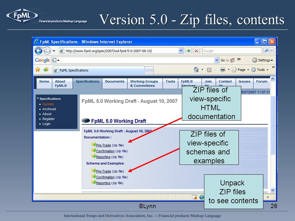 BLynn26 Version 5.0 - Zip files, contents ZIP files of view-specific HTML documentation ZIP files of view-specific schemas and examples Unpack ZIP files to see contents