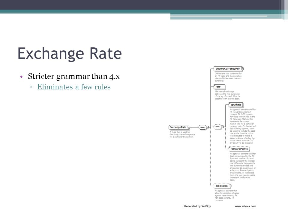 Exchange Rate Stricter grammar than 4.x Eliminates a few rules