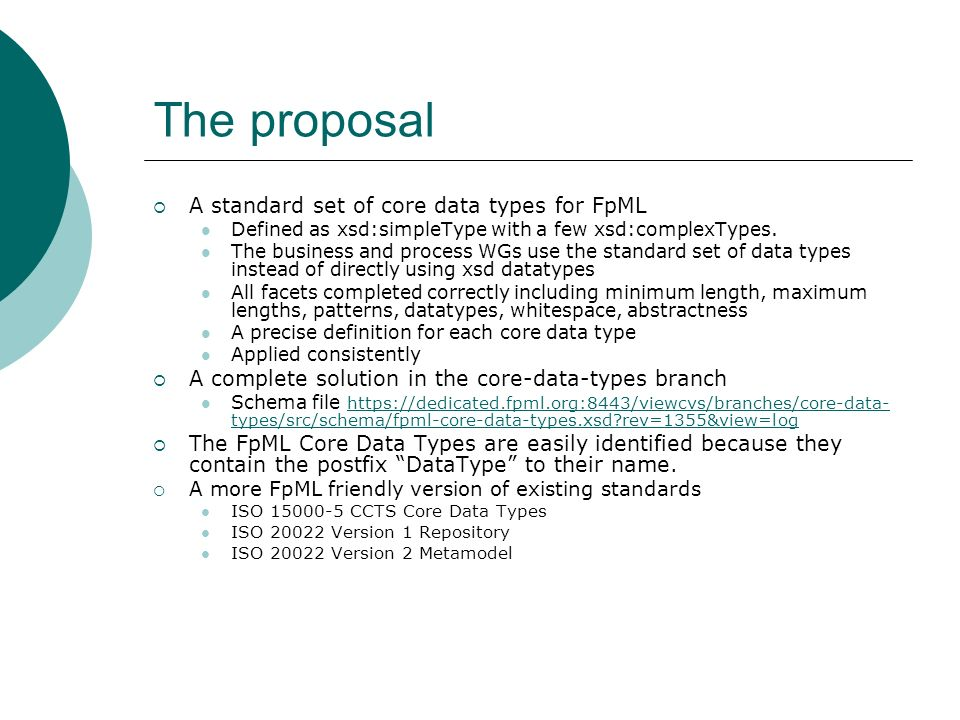 The proposal A standard set of core data types for FpML Defined as xsd:simpleType with a few xsd:complexTypes.
