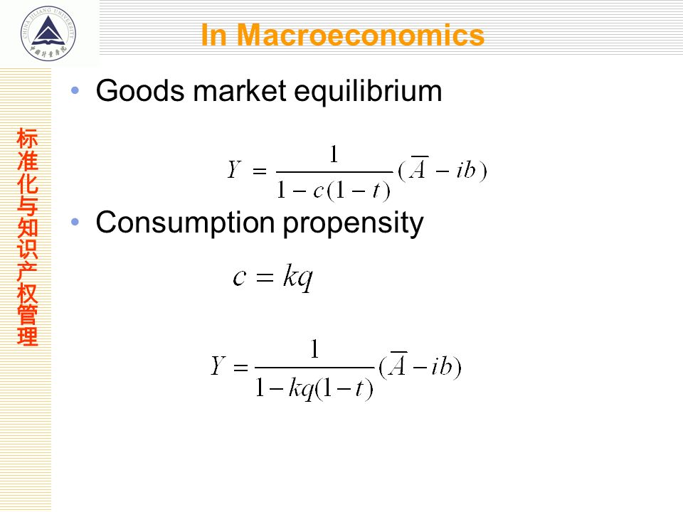 In Macroeconomics Goods market equilibrium Consumption propensity