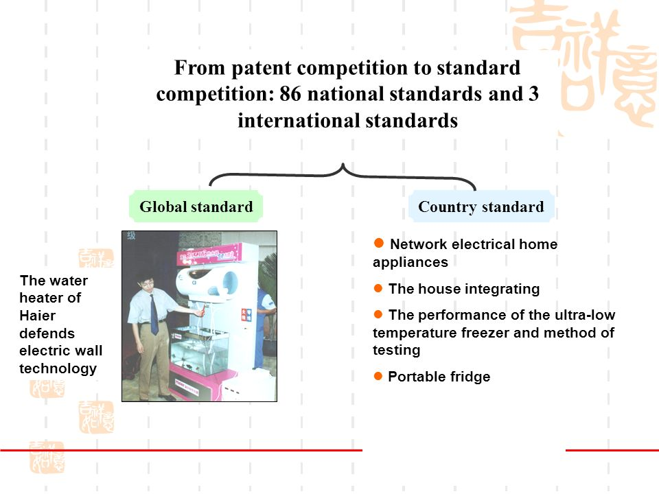 From patent competition to standard competition: 86 national standards and 3 international standards The water heater of Haier defends electric wall technology Global standardCountry standard Network electrical home appliances The house integrating The performance of the ultra-low temperature freezer and method of testing Portable fridge 6
