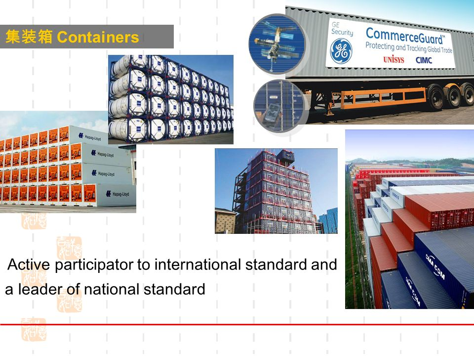 Containers · Active participator to international standard and a leader of national standard