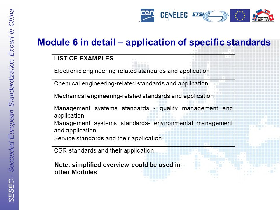 The European Standards Organizations (ESOs) CEN, CENELEC, ETSI SESEC - Seconded European Standardization Expert in China Module 6 in detail – application of specific standards LIST OF EXAMPLES Electronic engineering-related standards and application Chemical engineering-related standards and application Mechanical engineering-related standards and application Management systems standards - quality management and application Management systems standards- environmental management and application Service standards and their application CSR standards and their application Note: simplified overview could be used in other Modules