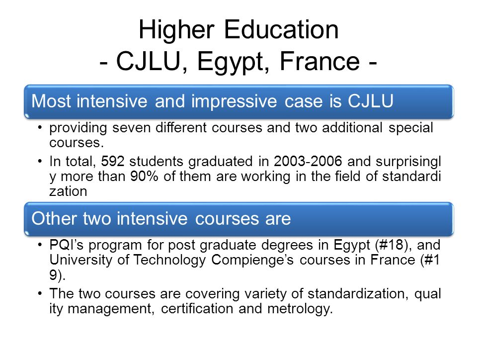 Higher Education - CJLU, Egypt, France - Most intensive and impressive case is CJLU providing seven different courses and two additional special courses.