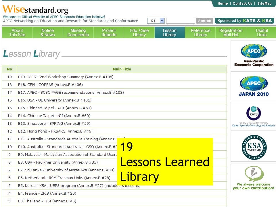 19 Lessons Learned Library