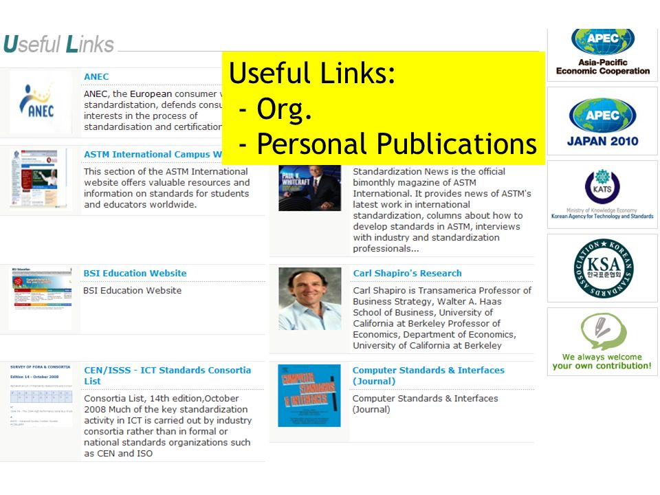 Useful Links: - Org. - Personal Publications