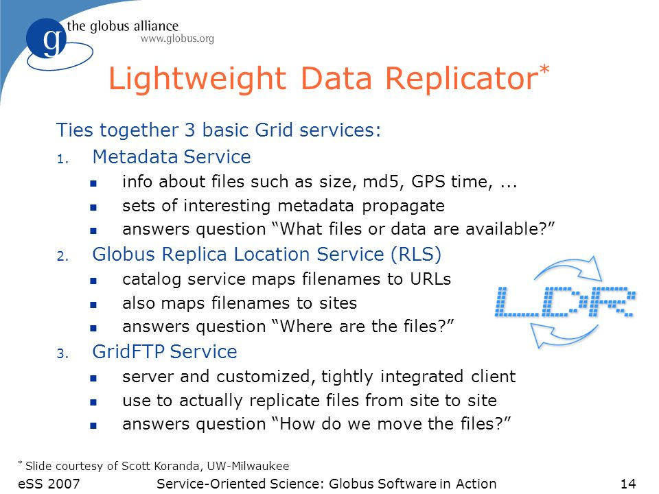 eSS 2007Service-Oriented Science: Globus Software in Action14 Lightweight Data Replicator * Ties together 3 basic Grid services: 1.