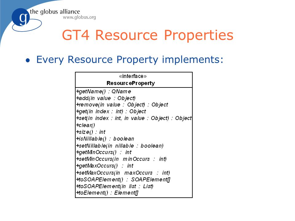 GT4 Resource Properties l Every Resource Property implements:
