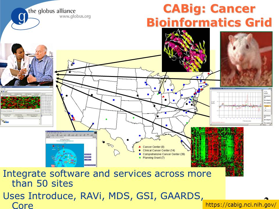 2 CABig: Cancer Bioinformatics Grid Integrate software and services across more than 50 sites Uses Introduce, RAVi, MDS, GSI, GAARDS, Core https://cabig.nci.nih.gov/