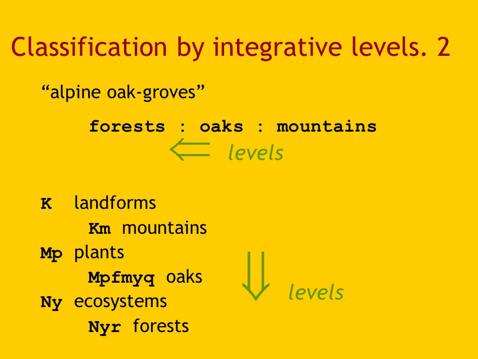 Classification by integrative levels.