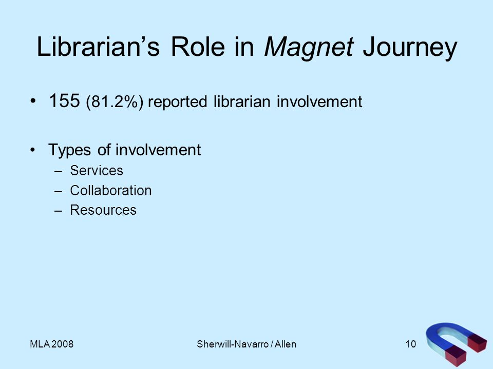 10MLA 2008 Librarians Role in Magnet Journey 155 (81.2%) reported librarian involvement Types of involvement –Services –Collaboration –Resources Sherwill-Navarro / Allen