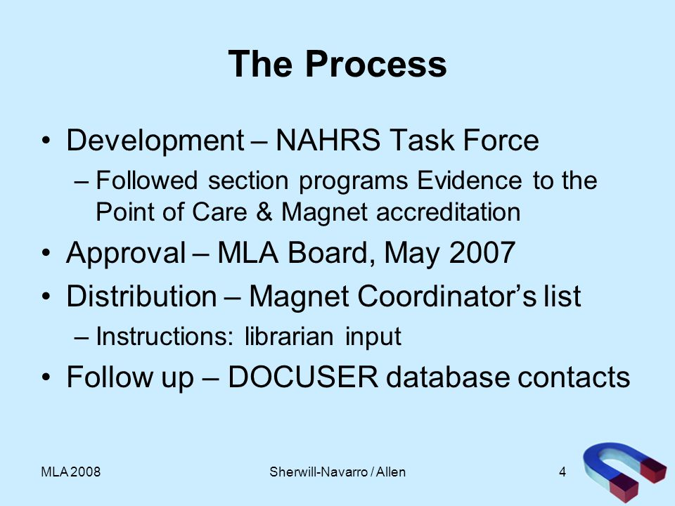 4MLA 2008 The Process Development – NAHRS Task Force –Followed section programs Evidence to the Point of Care & Magnet accreditation Approval – MLA Board, May 2007 Distribution – Magnet Coordinators list –Instructions: librarian input Follow up – DOCUSER database contacts Sherwill-Navarro / Allen