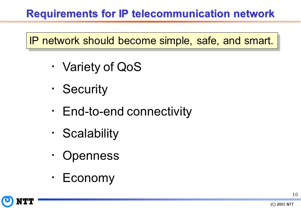 (C) 2003 NTT 9 IP network as an infrastructure IP network should grow into a sound infrastructure on which various business players provide users with killer applications and get money.