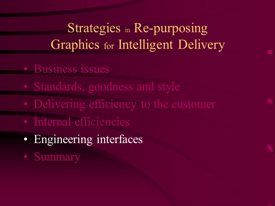 Strategies in Re-purposing Graphics for Intelligent Delivery Business issues Standards, goodness and style Delivering efficiency to the customer Internal efficiencies Engineering interfaces Summary