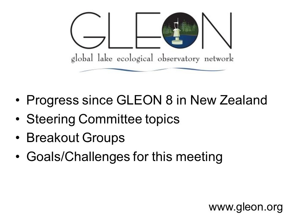Progress since GLEON 8 in New Zealand Steering Committee topics Breakout Groups Goals/Challenges for this meeting www.gleon.org