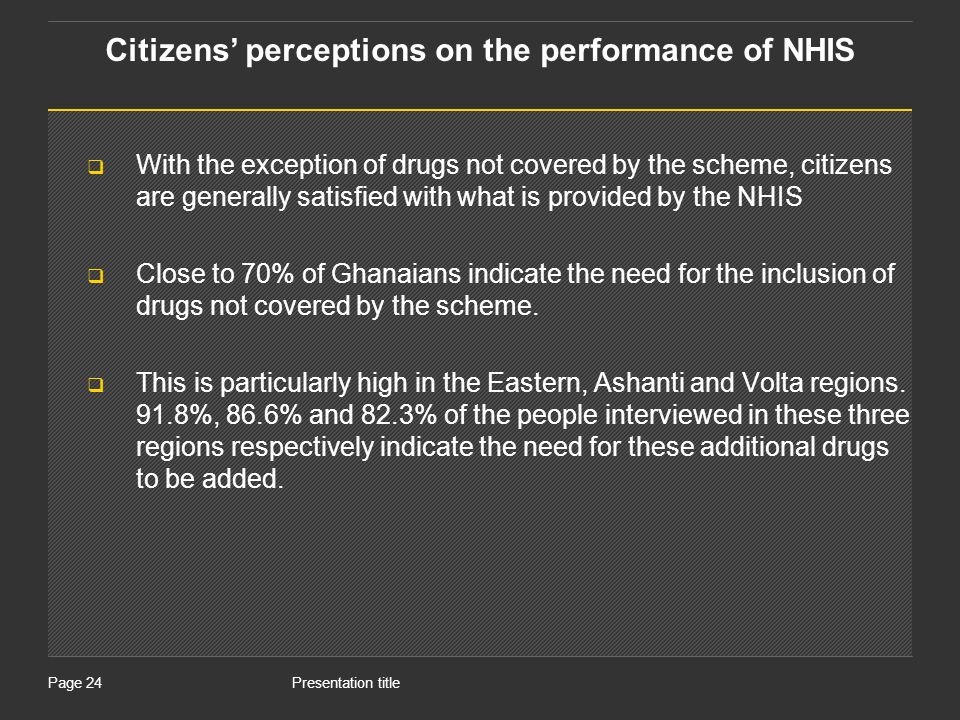 Presentation titlePage 24 With the exception of drugs not covered by the scheme, citizens are generally satisfied with what is provided by the NHIS Close to 70% of Ghanaians indicate the need for the inclusion of drugs not covered by the scheme.