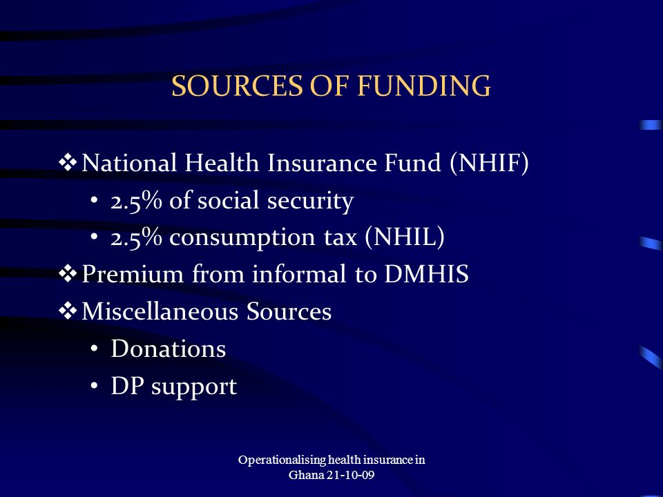 SOURCES OF FUNDING National Health Insurance Fund (NHIF) 2.5% of social security 2.5% consumption tax (NHIL) Premium from informal to DMHIS Miscellaneous Sources Donations DP support Operationalising health insurance in Ghana 21-10-09