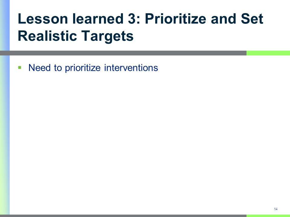 Lesson learned 3: Prioritize and Set Realistic Targets Need to prioritize interventions 14