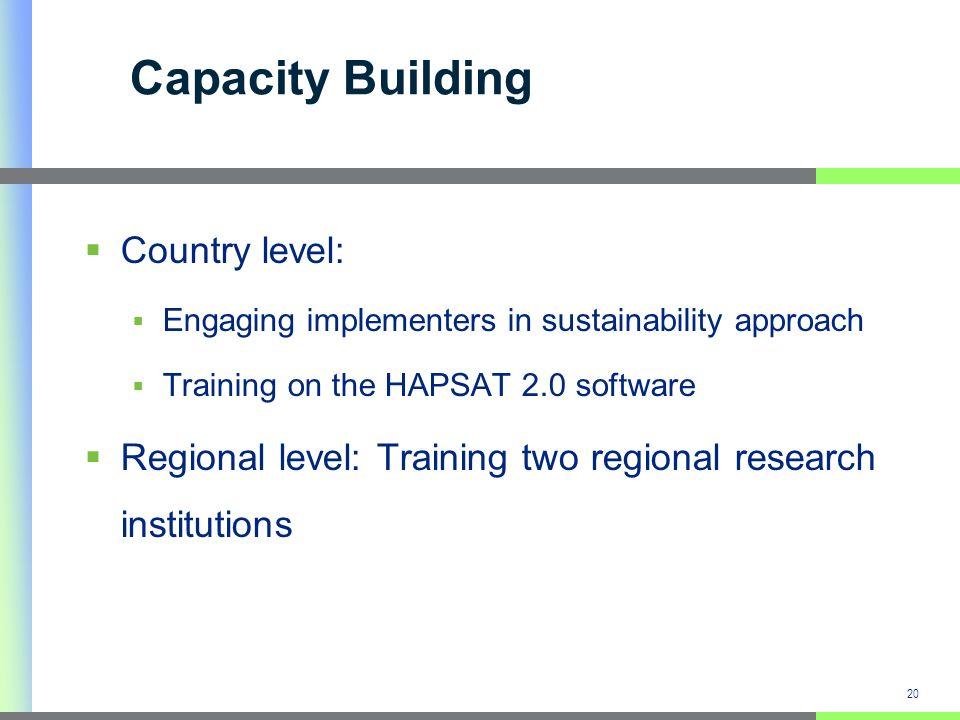 Capacity Building Country level: Engaging implementers in sustainability approach Training on the HAPSAT 2.0 software Regional level: Training two regional research institutions 20