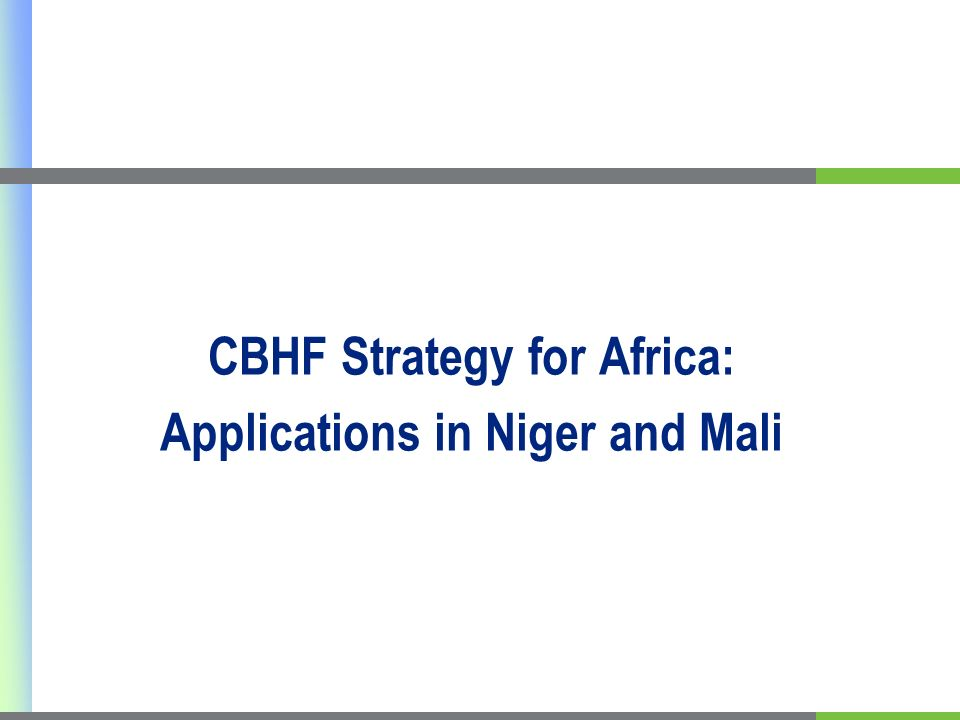 CBHF Strategy for Africa: Applications in Niger and Mali