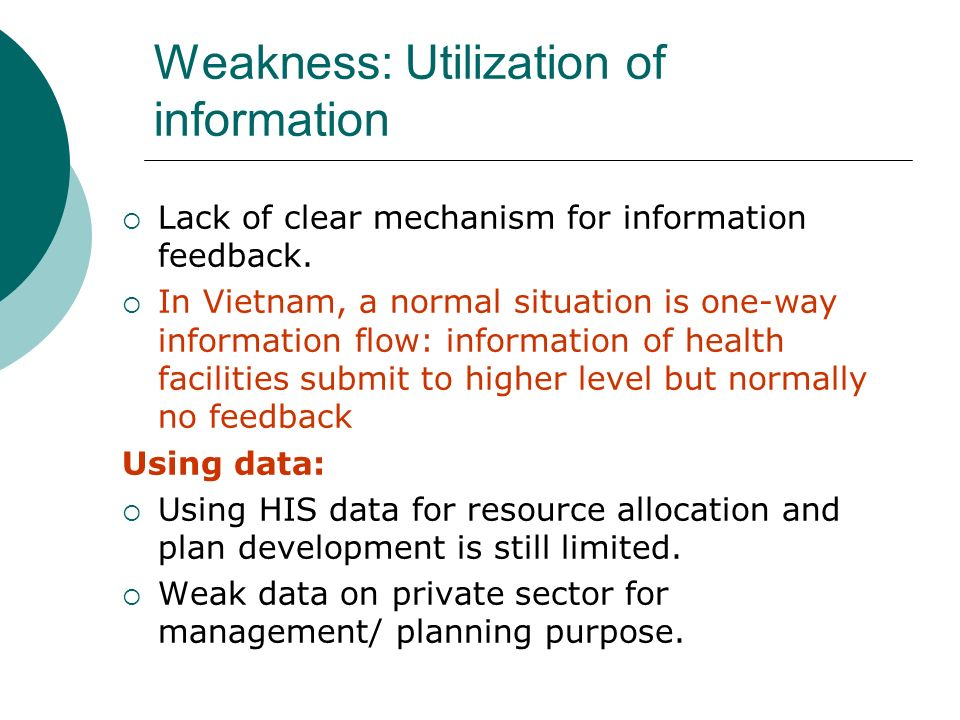 Weakness: Utilization of information Lack of clear mechanism for information feedback.