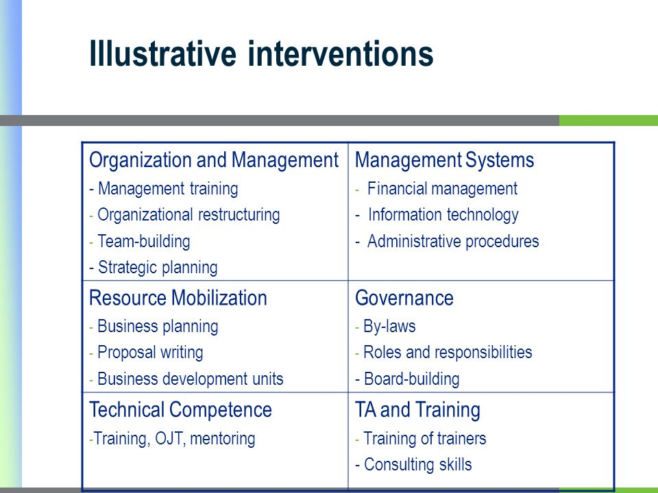 Illustrative interventions Organization and Management - Management training - Organizational restructuring - Team-building - Strategic planning Management Systems - Financial management - Information technology - Administrative procedures Resource Mobilization - Business planning - Proposal writing - Business development units Governance - By-laws - Roles and responsibilities - Board-building Technical Competence - Training, OJT, mentoring TA and Training - Training of trainers - Consulting skills