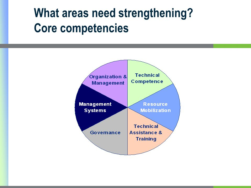 What areas need strengthening Core competencies
