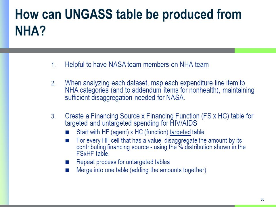 26 How can UNGASS table be produced from NHA. 1. Helpful to have NASA team members on NHA team 2.
