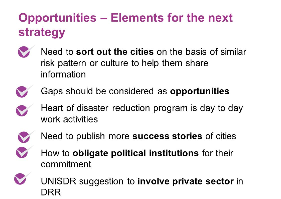 Need to sort out the cities on the basis of similar risk pattern or culture to help them share information Gaps should be considered as opportunities Heart of disaster reduction program is day to day work activities Need to publish more success stories of cities How to obligate political institutions for their commitment UNISDR suggestion to involve private sector in DRR