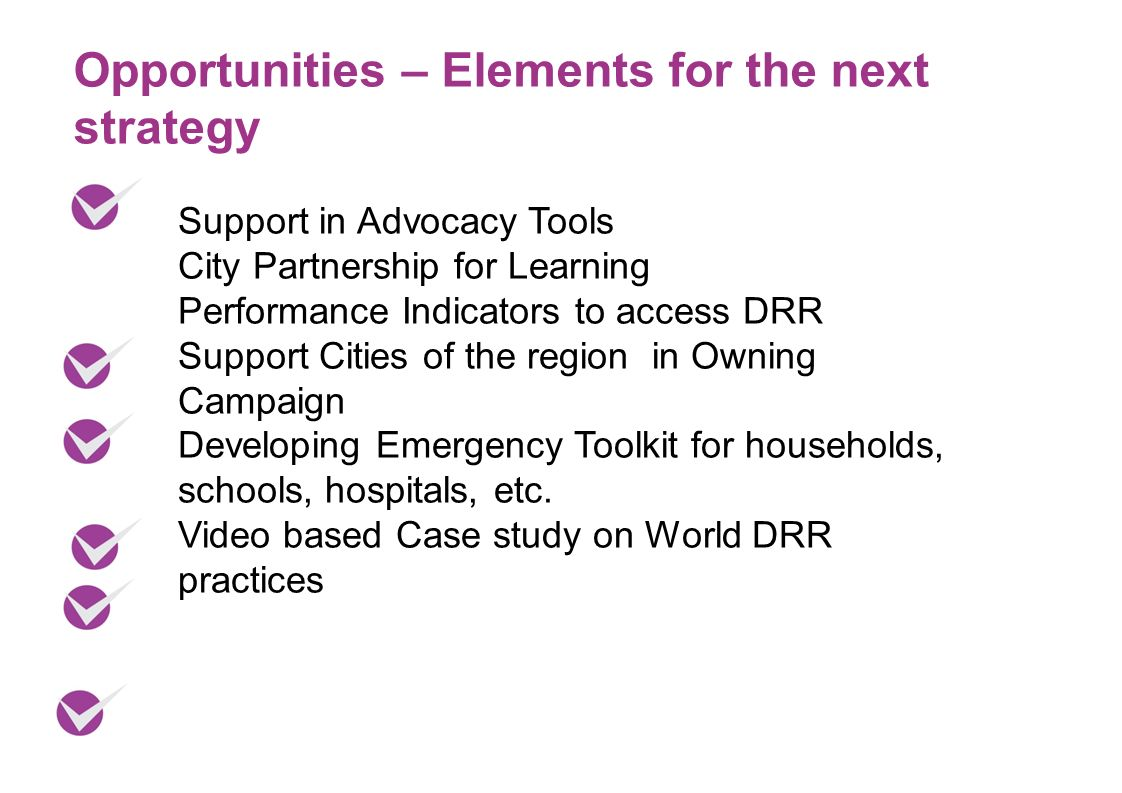 Opportunities – Elements for the next strategy Support in Advocacy Tools City Partnership for Learning Performance Indicators to access DRR Support Cities of the region in Owning Campaign Developing Emergency Toolkit for households, schools, hospitals, etc.