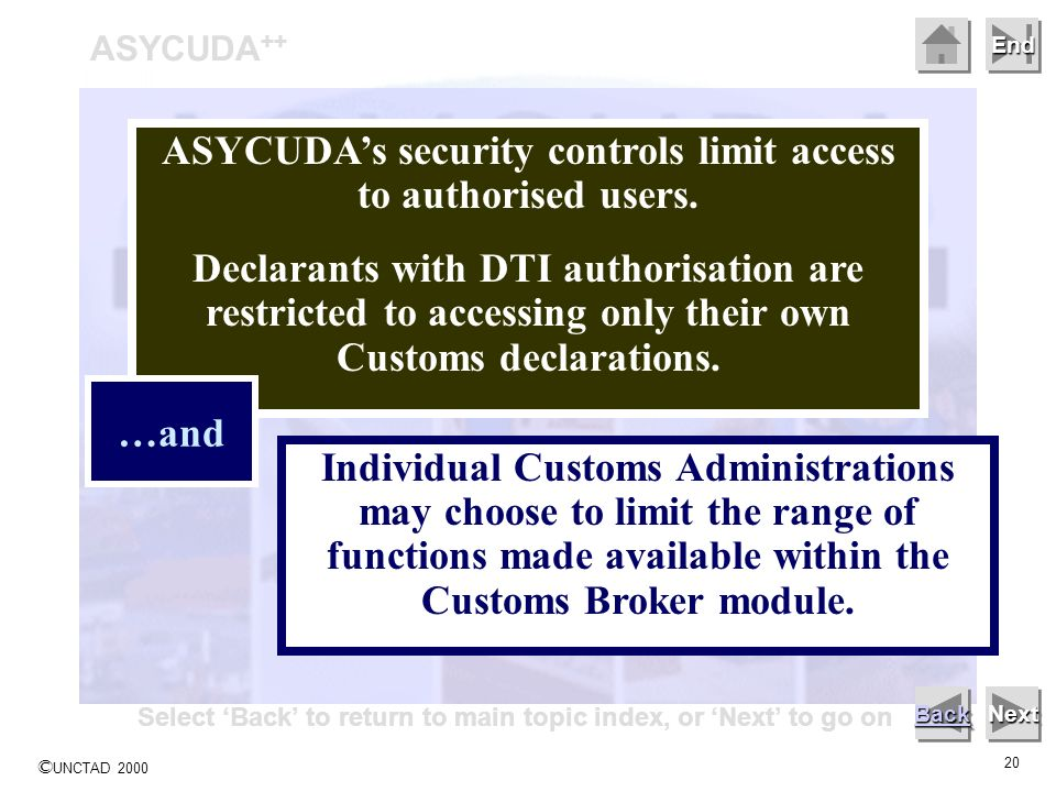 © UNCTAD 2000 20 End ASYCUDA ++ Next ASYCUDAs security controls limit access to authorised users.