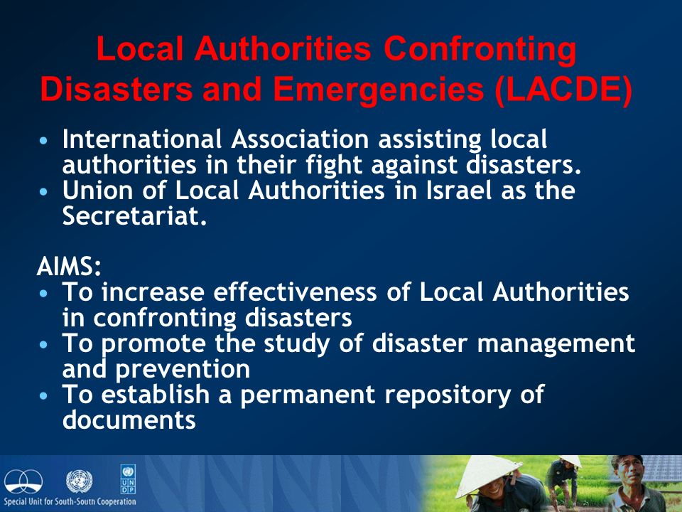 Local Authorities Confronting Disasters and Emergencies (LACDE) International Association assisting local authorities in their fight against disasters.